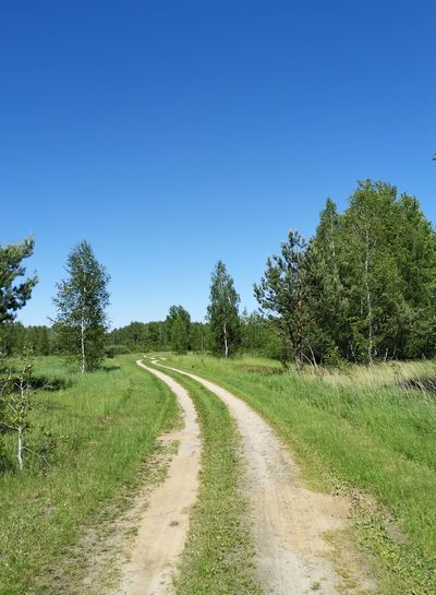Empty road along trees on field against clear sky