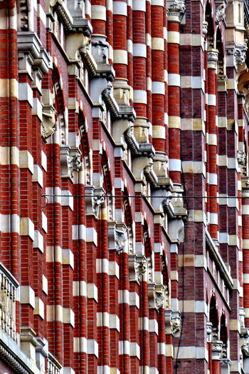 Architecture Brick Building Building Exterior Built Structure Close-up Day Front No People Outdoors Red Red And White Colour The Graphic City The Architect - 2018 EyeEm Awards