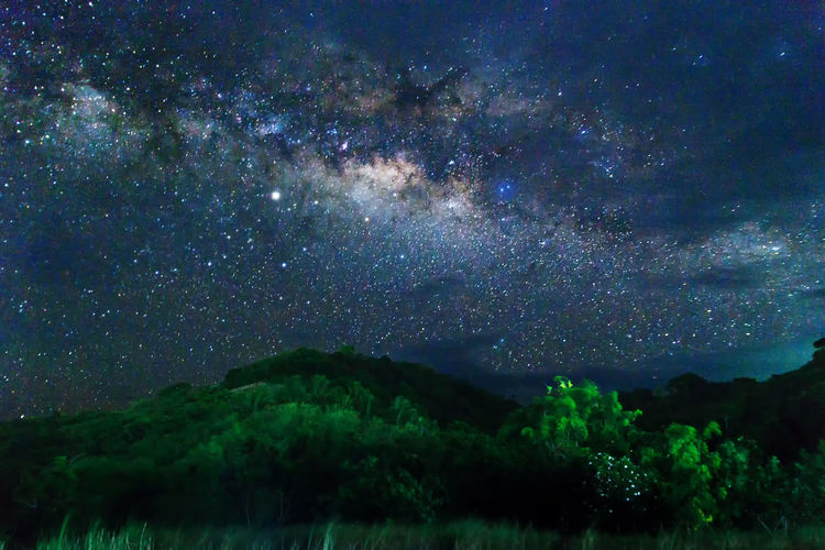 Astronomy Beauty In Nature Galaxy Milky Way Mountain Nature Night No People Outdoors Scenics - Nature Sky Space Star Star - Space Tranquil Scene Tranquility