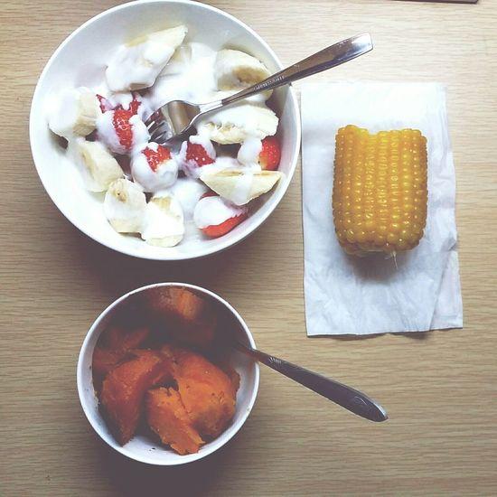 Relaxing Time Enjoying A Meal Healthy Food Dinner Sweet Potato Corn Fruit Yogurt♡♡♡♡♡ Delicious