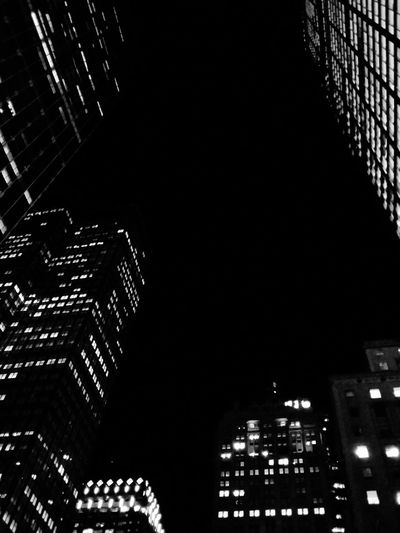 Skyscrapers. · New York City New York NYC USA Manhattan Architecture Highrises Up Urban Landscape Urban Geometry Light And Shadow Office Lights City Lights Night Lights Night Photography Black And White Black & White Monochrome