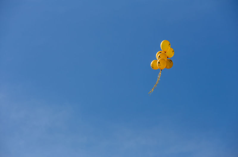 Blue Sky Copy Space Low Angle View Yellow Nature No People Day Clear Sky Representation Toy Flying Outdoors Animal Representation Mid-air Balloon Sunlight Sunny Kite - Toy Balloons Skyporn