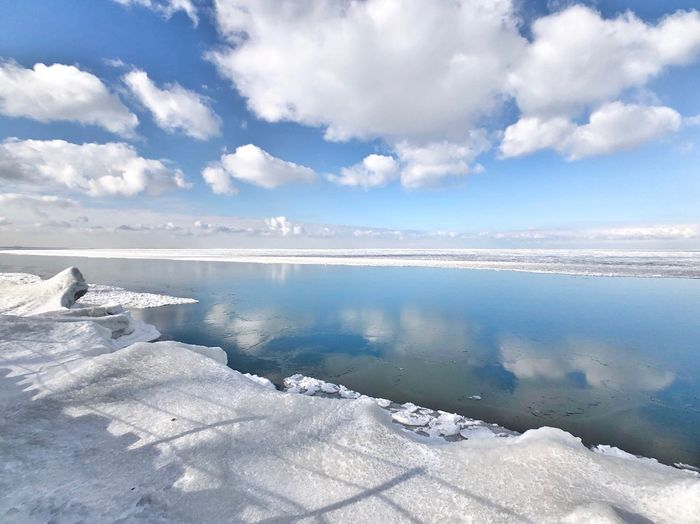 Silence and Serenity Cloud - Sky Water Sky Beauty In Nature Scenics - Nature Tranquility Cold Temperature Tranquil Scene Winter Snow Nature Lake Ice Reflection
