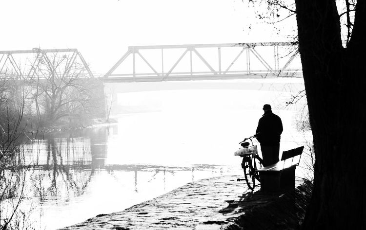 Adult Adults Only Black Black And White Blackandwhite Bridge Bridge - Man Made Structure Connection Day Full Length Man Men One Man Only One Person Only Men Outdoors People Real People Sky Street Street Photography Streetphotography Water