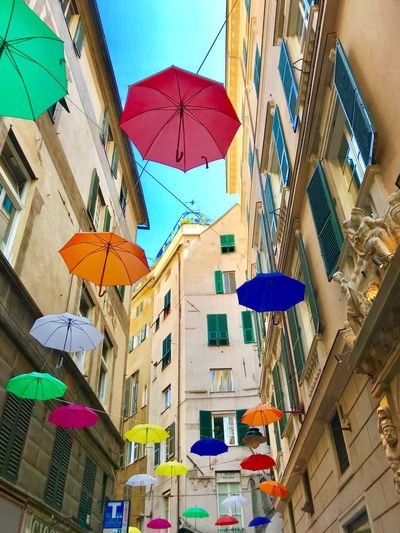 Umbrellas ☂️ EyeEmNewHere Sun Italy City Street Umbrella Genova My Best Travel Photo Building Exterior Architecture Built Structure Low Angle View Multi Colored Protection City Sky Security Window Building Residential District Clear Sky No People Hanging Day Outdoors Apartment Nature EyeEmNewHere