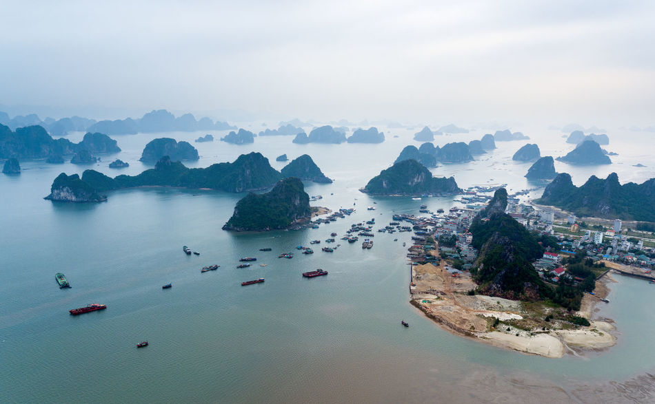 Bai Tu Long Bay Ha Long Aerial View Beach Beauty In Nature City Day Fog Ha Long Bay High Angle View Mountain Nature Nautical Vessel No People Outdoors Rock - Object Scenics Sea Sky Tranquility Travel Destinations Van Don Water