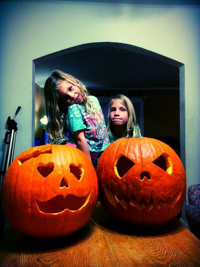 My daughter Isla and my son Evren designed their own faces. She wanted hearts and mom said to add a bow. He wanted a normal scary pumpkin. So dad did it right! Halloween Jackolanterns My Kids Cute