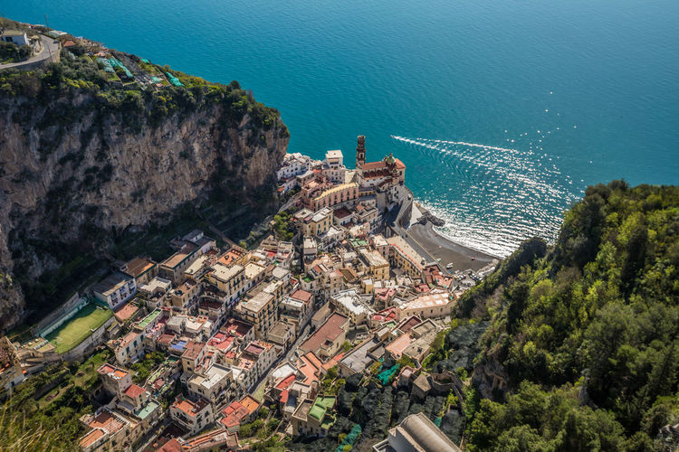 Very nice view of Atrani village in Amalfi Atrani Amalfi Coast Amalfi  Amalfi Italy High Angle View Sea Water Building Exterior Architecture Nature Built Structure Day Plant Tree Residential District City Scenics - Nature Outdoors Building No People Travel Destinations Transportation Land Cityscape TOWNSCAPE