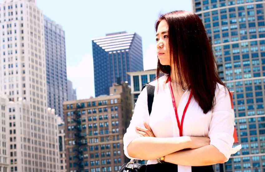 Asian Female Business Woman Girl Power Chicago Downtown Making Decision Canon Rebel Xti