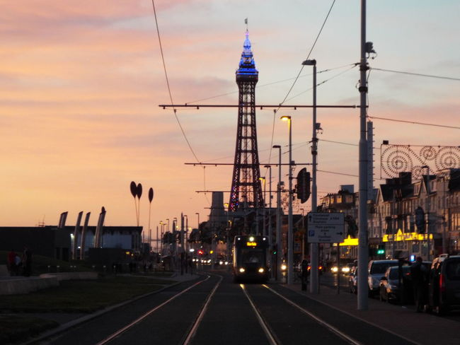 Late Evening Sky The Essence Of Summer Summer2016 Summertime Summer Tourist Attraction  Tourism Blue Lights On Blackpool Tower Blue Lights  Blackpool Seafront Blackpool Tower Late Evening Night Time Blackpool Tram Tram