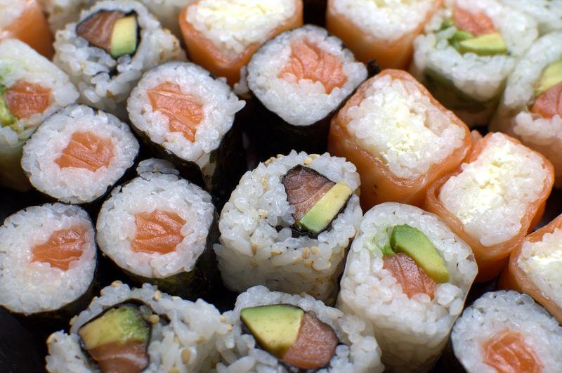 Full frame shot of sushi
