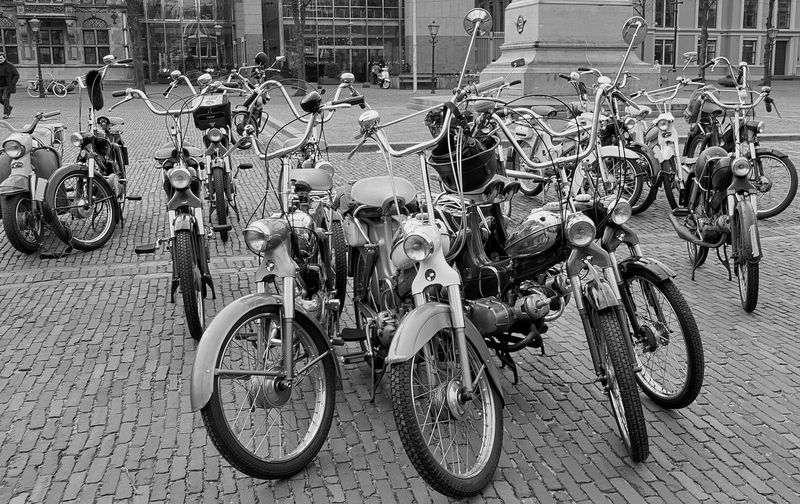group parked old timer Puch mopeds ACDSee Close-up Day Grouped Mode Of Transport Moped Mopeds Nostalgic  Oldtimers Outdoors Parked Puch Stationary Transportation