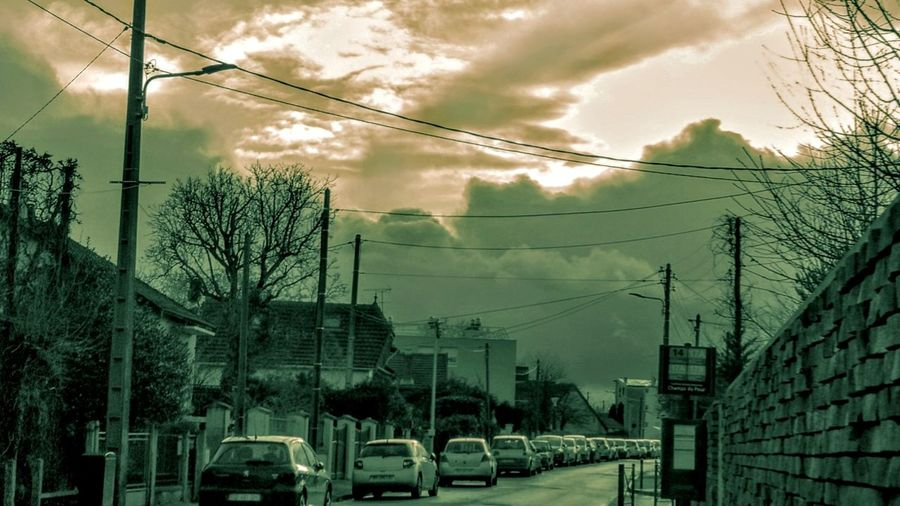 Cars Street Street Photography Atmospheric Mood Sky And Clouds Edited Tree Electricity Pylon City Electricity  Cable
