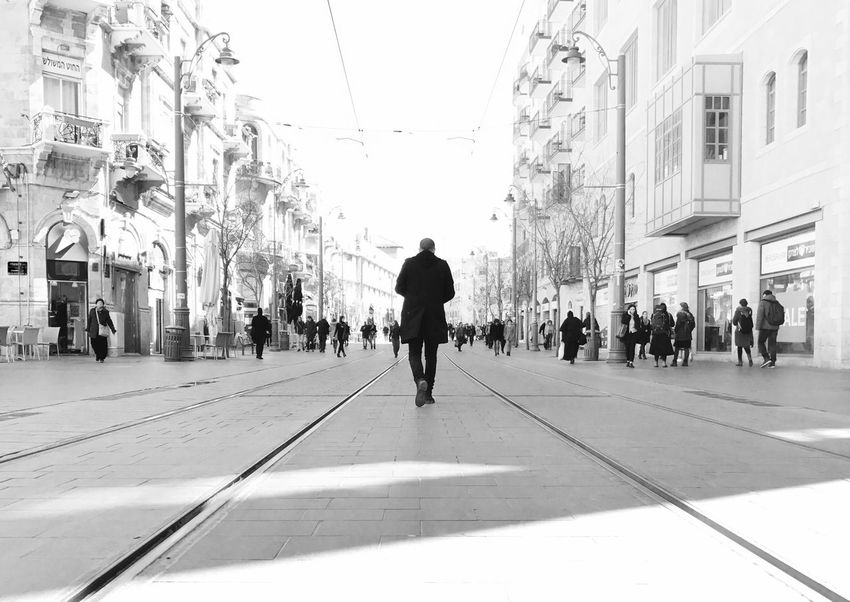 Walking Large Group Of People City City Life Men Street City Street Built Structure Architecture EyeEm Best Shots Adults Only People Real People Adult Building Exterior Day Outdoors Only Men EyeEm Gallery Sky The City Light Streetphotography Street Photography Jerusalem Blackandwhite