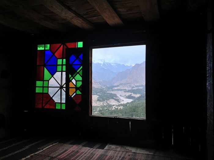 Indoor Photography Baltit Fort Hunza Mountain Window Geometric Shape Multi Colored Tranquil Scene Check This Out Hunza Valley Pakistan Creativity Hidden Gems  History Karimabad Taking Photos Capture The Moment Hunza Antiquities Traveling Memories Architecture