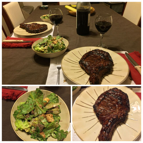 Grilled ribeye steaks with my brown sugar & espresso dry rub. Served with a salad and my homemade 2013 Chilean Cabernet Sauvignon/Merlot blended wine. ICanCookMyAssOff Nomnombomb TheExpensiveWinos MyFoodPics