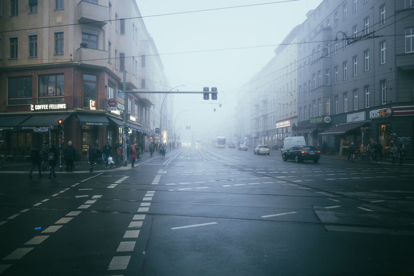 Misty foggy morning in January Shades Of Winter City Life City Street Daytime Foggy Weather January Misty Morning Street Life Street Light City Day Fog Foggy Foggy Day Foggy Morning Mist Misty Morning Outdoors People Road Sky Street Streetphotography Transportation Urban