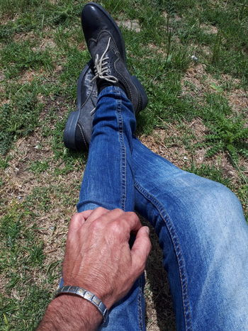 Human Leg Human Body Part Jeans One Person Shoe Low Section Personal Perspective