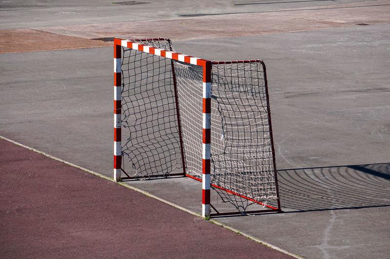 Street soccer goal sport equipment on the field