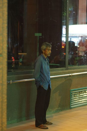 Full Length Gray Hair Indoors  Night One Man Only One Person Only Men People Real People Side View Street Life Sadeyes Hopefully Street Photography Waiting.. Standing Alone Looking Up Sorrowful