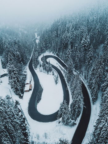 Landscape_Collection Nature Road Snow ❄ Winter Beauty In Nature Cold Temperature Curve Day Fog High Angle View Landscape Mountain Nature Nature_collection No People Outdoors Scenics Snow Tranquil Scene Tranquility Tree Weather Winding Road Winter