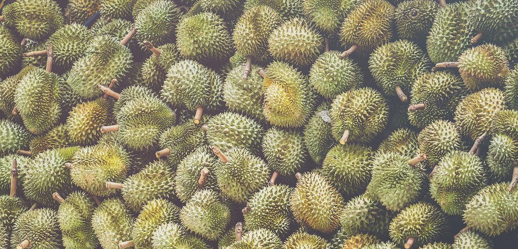 Full frame shot of durians for sale