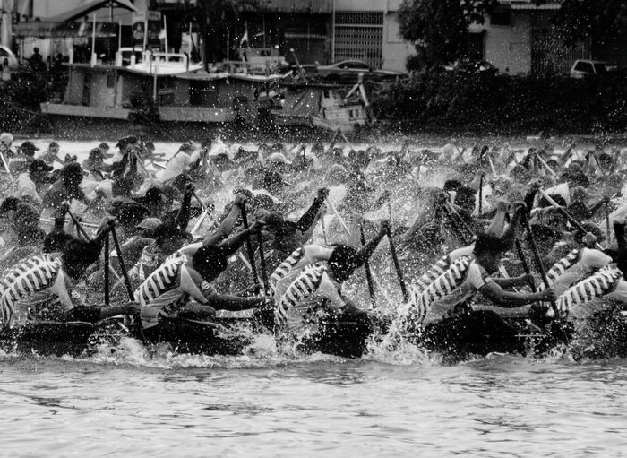 Black And White Friday regatta spirits at sarawak regatta 2017 Water Outdoors Arts Culture And Entertainment Regatta Weekend Regatta Day Paddle Boats Boat Races Boating People People Of EyeEm Teamwork Challenge Accepted Hardwork Watersport