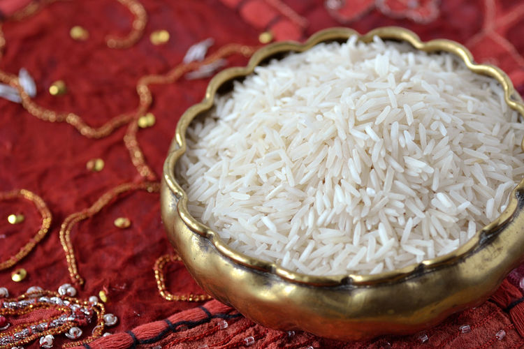 Basmati Rice Biological Bowl Carpet Cereal Close-up Food Grain Healthy Food India Indian Natural No People Organic Raw Red Rice