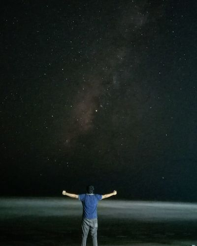 Night Man People Star Field Scenics Sky Beauty In Nature Astronomy Nature Galaxy Dark Outdoors Space Majestic Self Portrait Thats Me  Freedom Overnight Success People And Places Milkyway Film Fine Art Seaside Beach Traveling