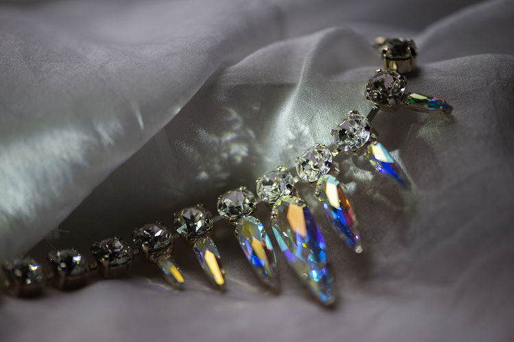 Close-up details of necklace with swarovski crystal stones