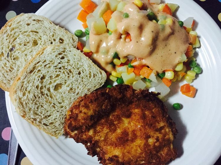 Chicken cordon bleu and cooked salad for dinner at home