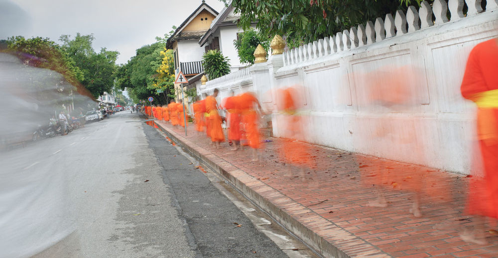 Architecture Building Exterior Built Structure City Day Land Vehicle Monks, BuddhismMonks, Buddhism. Luang Prabang No People Outdoors Road Sky Spraying Transportation Tree Water