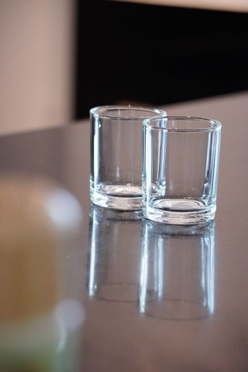 Close-up of water in glass on table