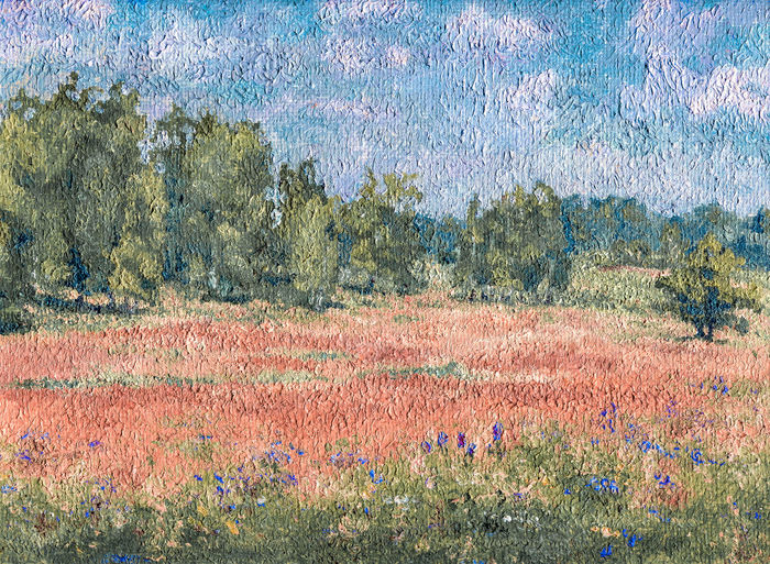 a meadow in oil (my painting) Meadow Meadow Flowers Russia Wildflower Summer Field Trees Wildflowers Dry Grass Fieldscape Illustration Art Multi Colored Backgrounds Full Frame Textured  Sky Paint Painted Oil Paint Brush Stroke Oil Painting Modern Art Fine Art Painting