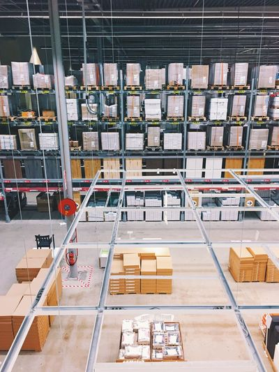 Nobody stores like Ikea. Industry Factory Warehouse High Angle View Occupation Place Of Work Indoors  Business Large Group Of Objects Manufacturing Box - Container Machinery Manufacturing Equipment Working Industrial Equipment Shelf IKEA Storing Space Shelves Stuff Boxes Volume