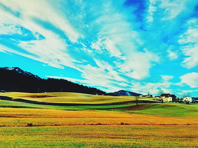 Memories Nature IPhoneography Outdoors Famous Place Cloud - Sky Landscape Sky Cloud Road No People Day Green Enjoying Life Austria Mountains Europe Countryside Colorful On My Way Blue Vanishing Point Abundance Field