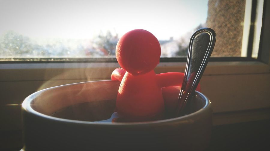 Red Water Taking A Bath Indoors  Close-up Hot Bath Sunrise Doll Cup Of Tea Relax