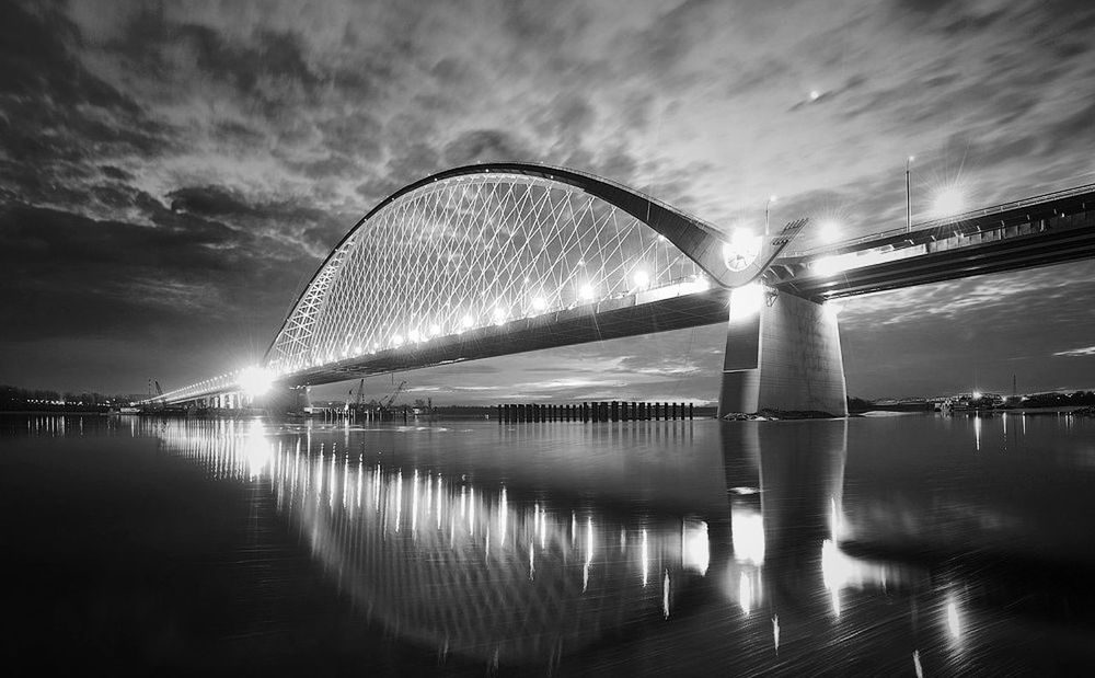 Bridge - Man Made Structure Modern Blackandwhite Black & White Cityscapes City Life City Bridge Citynight Night Architecture