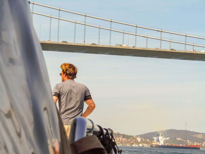 Back Shot. Istanbul Istanbul Turkey Turkey Back Shot  Bridge Yacht Water Nautical Vessel Sea Clear Sky Bridge - Man Made Structure Sky Casual Clothing Shore Horizon Over Water Calm