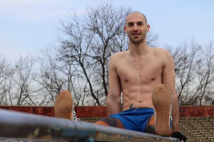 Young sportsman exercising outside Sportsman Sport Sports Photography Exercising Outdoor Photography Outdoor Outside Topless, Model Modeling Boy
