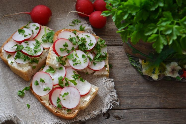 Close-up of radish sandwich