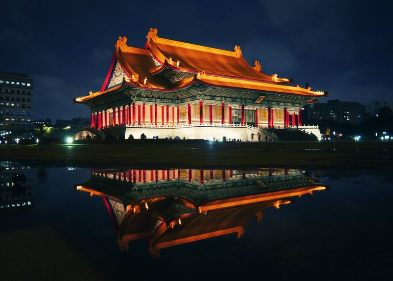 Mirror of memory China Chinatown Exterior Silhouette Ancient Architecture Ancient Architecture Building Exterior Illuminated Night Built Structure Water Sky Reflection Cloud - Sky Travel Destinations Outdoors Real People City An Eye For Travel