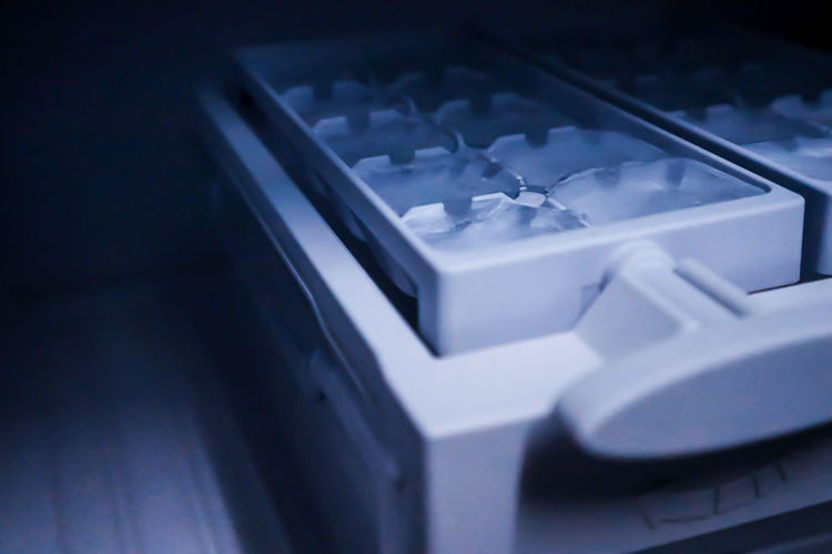 Close-up of ice tray in refrigerator