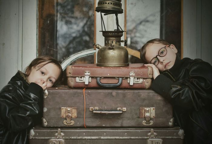 Child Family Warm Clothing Suitcase Suitcases Brothers Boys Will Be Boys Leather Jacket Vintage Old Oil Lamp Childhood Journey Sad Borring Borred Retro Luggage EyeEm Ready   This Is Family