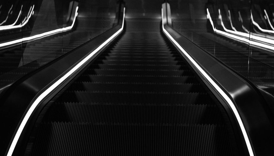 light and the mirror Close-up Convenience Day Escalator Futuristic Hand Rail Illuminated Indoors  Modern No People Staircase Steps Steps And Staircases Subway Station Subway Train Technology Transportation
