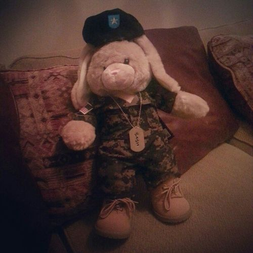 Jorge and I went to Buildabear :) We named our bunny Jason♥ after Jason L. Dunham Marines MILSO Supportourtroops Camo Dogtags