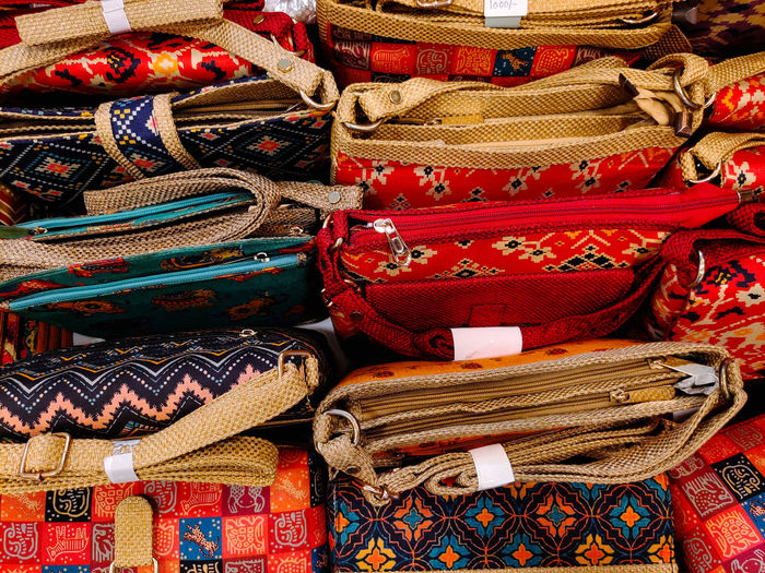 Full frame shot of multi colored textiles for sale at market