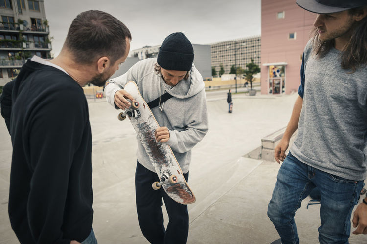 Group of people playing in city