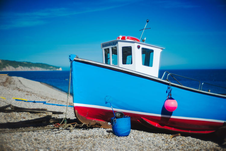 Travel Beach Blue Boat Bouy England Nets Seascape Sky Uk Water