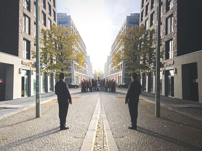 Reflection City Built Structure Architecture Street Building Exterior Men Real People